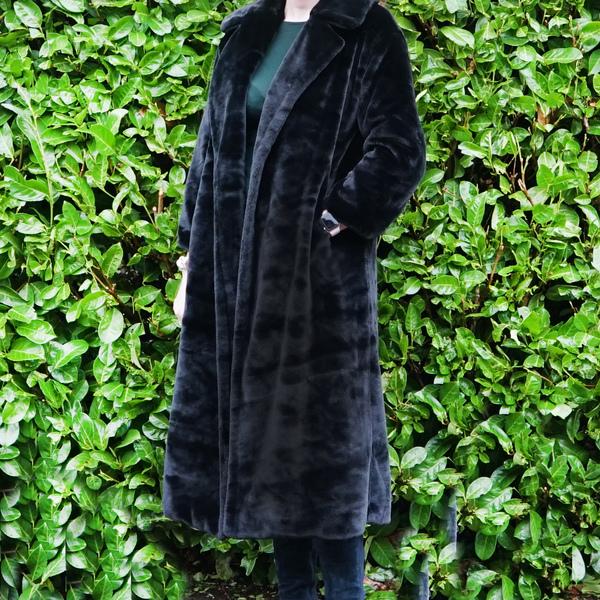 Black Faux Fur Midi Coat