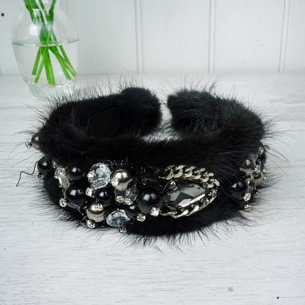 Black Fur & Chain Hairband