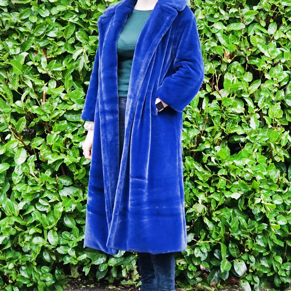 Blue Faux Fur Midi Coat