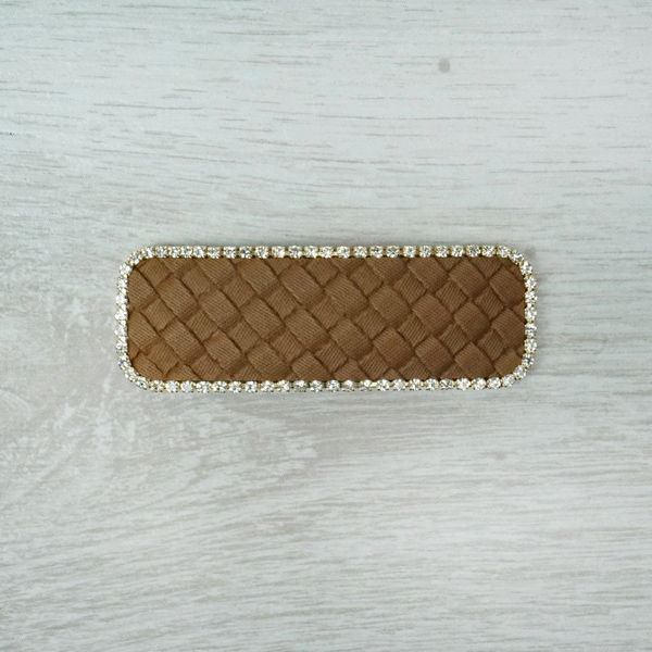 Brown Leather & Diamante Hairclip