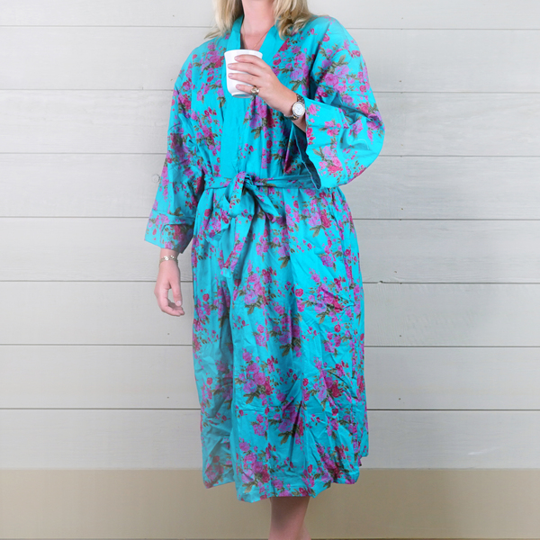 Cotton Dressing Gown - Pink/Turquoise