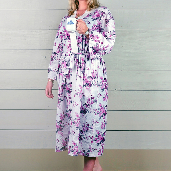 Cotton Dressing Gown - Pink/White