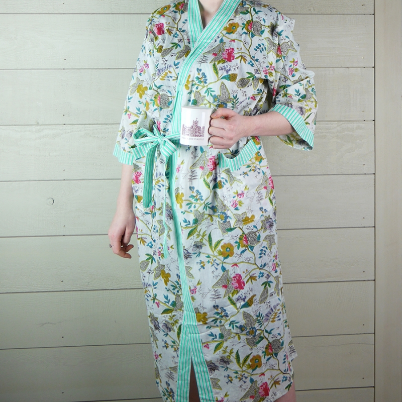 Cotton Floral Dressing Gown with Green Stripe Trim