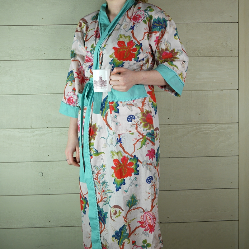 Cotton Floral Dressing Gown with Turquoise Trim