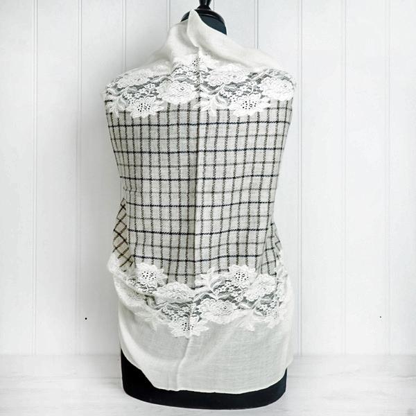 Cream Plaid & Lace Cashmere Wrap