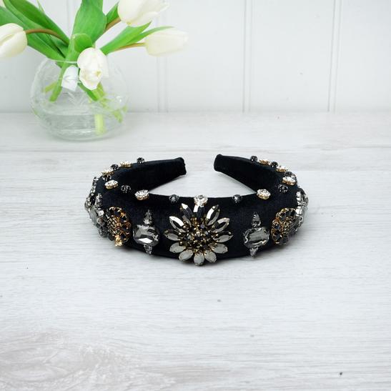 Dark Crystal Black Velvet Hairband