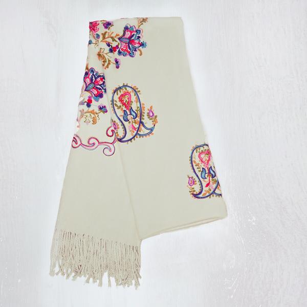 Embroidered Wrap - Cream