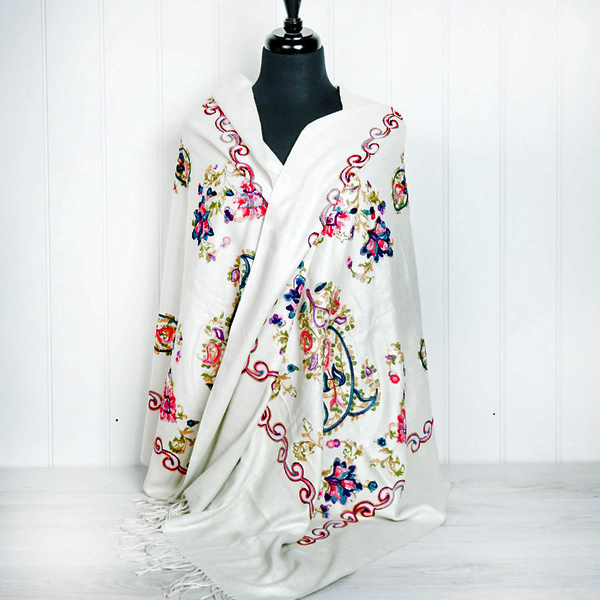 Embroidered Wrap - Cream