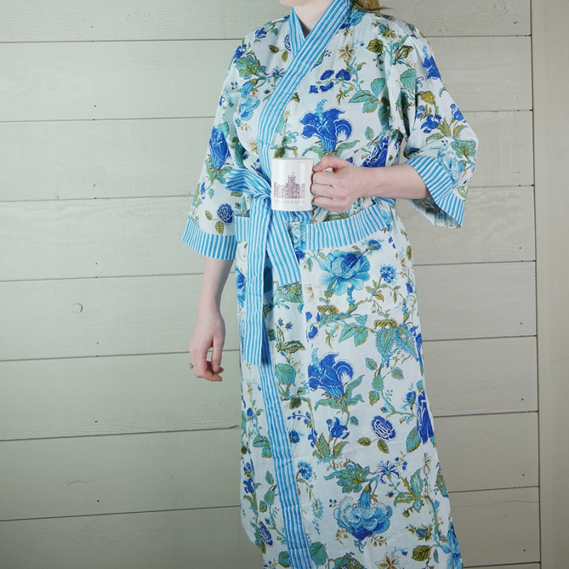 Floral Cotton Dressing Gown with Blue Stripe Trim