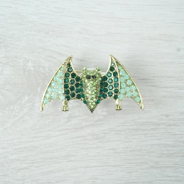 Green Bat Brooch