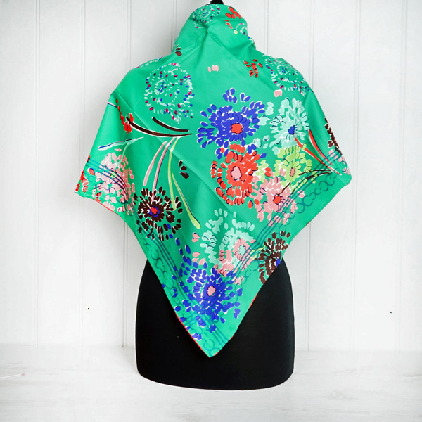 "Green ""Fireworks"" Floral Silk Scarf"