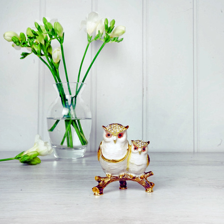 Mother & Baby Owl Trinket Box