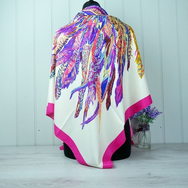 """White & Pink """"Feather"""" Silk Scarf"""