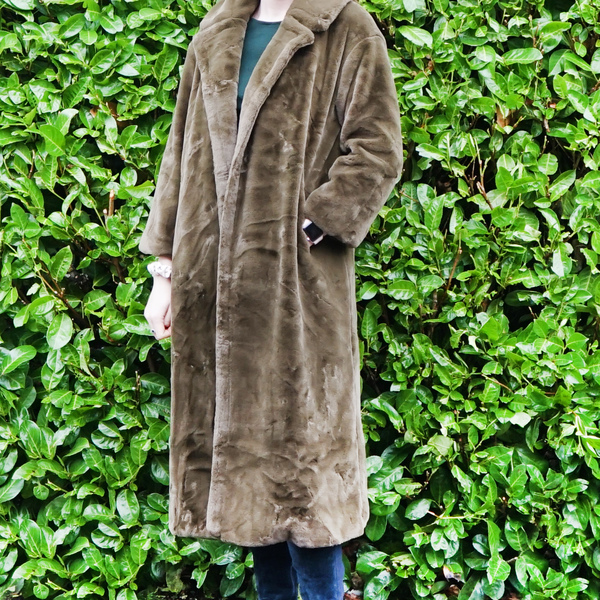 Olive Faux Fur Midi Coat