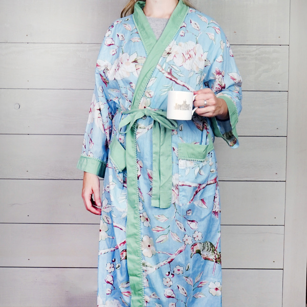 Pale Blue and Green Edged Floral Cotton Dressing Gown