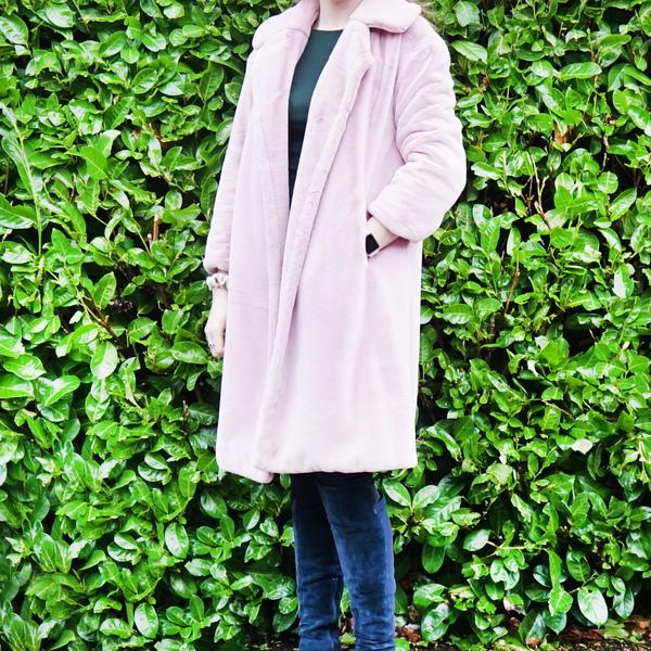 Pale Pink Faux Fur Coat