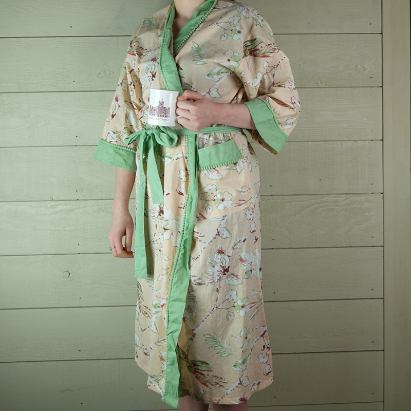 Peach Floral Dressing Gown with Green Trim