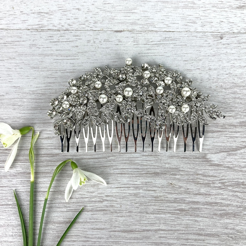 Pearl & Diamante Comb