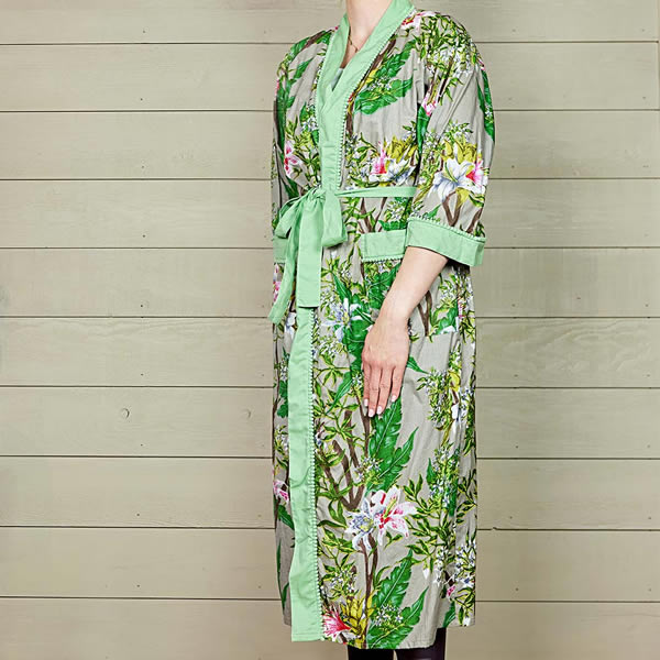 Stone Floral Cotton Dressing Gown with Green Trim