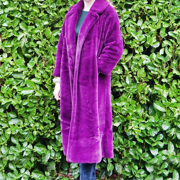 Purple Faux Fur Midi Coat