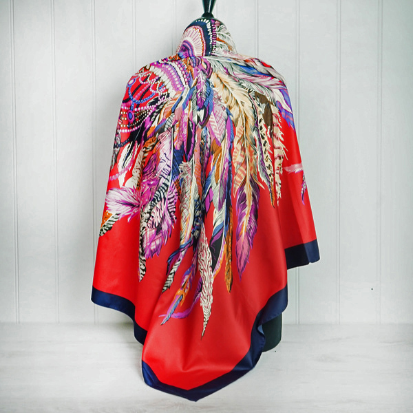 """Red """"Feather"""" Silk Scarf"""