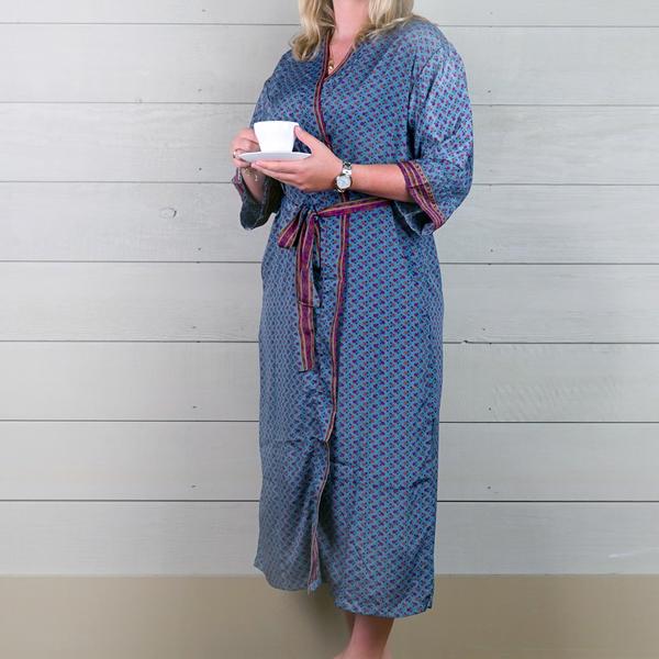 Silk Dressing Gown - Denim Blue