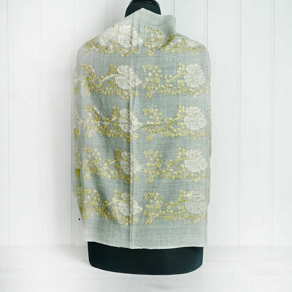 Taupe Embroidered Cashmere Wrap