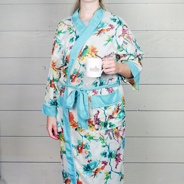 White and Turquoise Floral Cotton Dressing Gown