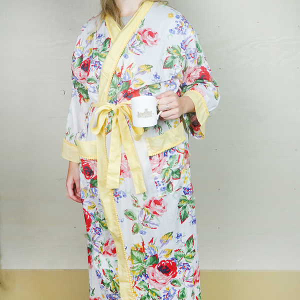 White and Yellow Edged Dressing Gown
