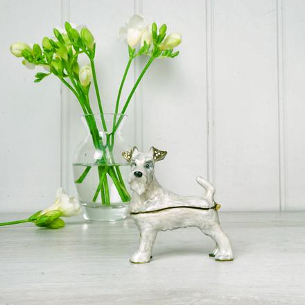 White Terrier Trinket Box