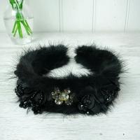 Black Fur Beaded Hairband