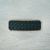 Black Leather & Diamante Hairclip