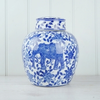 Blue Elephant Ginger Jar - S