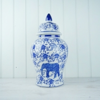 Blue Elephant Temple Jar - M