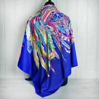 """Blue """"Feather"""" Silk Scarf"""