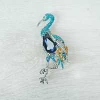 Blue Tropical Bird Brooch