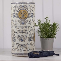 Ceramic Umbrella Stand with Gold Lozenge Pattern