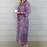 Cotton Dressing Gown - Pink/Mauve