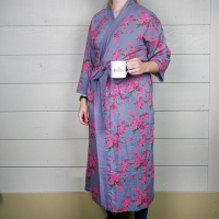 Cotton Dressing Gown - Lilac/Pink Rose