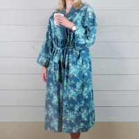 Cotton Dressing Gown - Turquoise/Teal