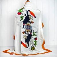 Cream & Orange Toucan Silk Scarf