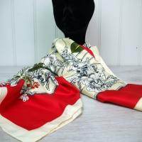 Cream & Red Silk Scarf - Large