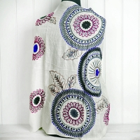 Cream Embroidered Circles Cashmere Wrap