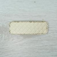 Cream Leather & Diamante Hairclip