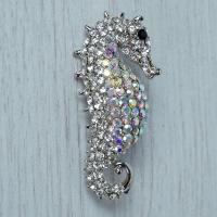 Diamante Seahorse Brooch