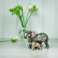 Elephant with Baby Trinket Box