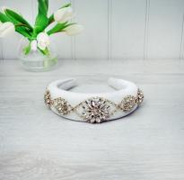 Gold & Crystal White velvet Hairband