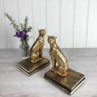 Gold Leopard Bookends