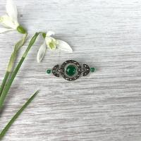 Green Agate Brooch