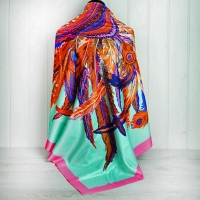 """Green & Pink """"Feather"""" Silk Scarf"""